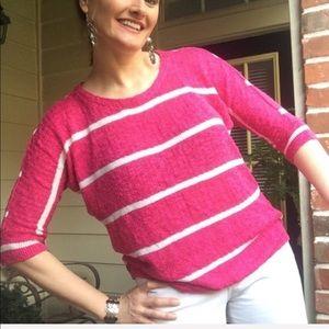 Pink striped lightweight sweater